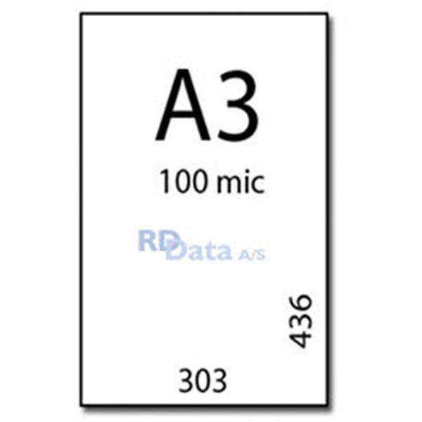 A3 lamineringslommer, 100 mic./my. 100 stk. pr. pakke. Mål: 303 x 436 mm. Vægt: 3,2 kg. pr pakke. Alt i plastkort, kortprintere og tilbehør hos RD Data