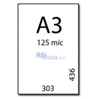 A3 lamineringslommer, 125 mic./my. 100 stk. pr. pakke Mål: 303 x 436 mm. Vægt: 4,1 kg. pr. pakke. Alt i plastkort, kortprintere og tilbehør hos RD Data