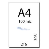 A4 lamineringslommer, 100 mic./my. 100 stk. pr. pakke. Mål: 216 x 303 mm. Vægt: 1,7 kg pr. pakke. Alt i plastkort, kortprintere og tilbehør hos RD Data