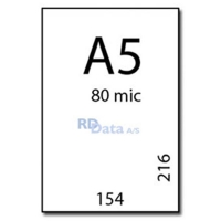 A5 lamineringslommer, 80 mic./my. 100 stk. pr. pakke Mål: 154 x 216 mm. Vægt: .0,7 kg. pr pakke. Alt i plastkort, kortprintere og tilbehør hos RD Data