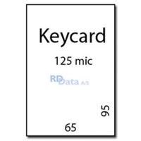 Keycard lamineringslommer, 125 mic./my. 100 stk. pr. pakke Mål: 65 x 95 mm. Vægt:0,3 kg pr. pakke. Alt i plastkort, kortprintere og tilbehør hos RD Data