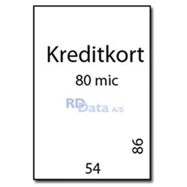 Kreditkort lamineringslommer, 80 mic./my. 100 stk. pr. pakke Mål: 54 x 86 mm. Vægt: 0,1 kg pr.pakke. Alt i plastkort, kortprintere og tilbehør hos RD Data