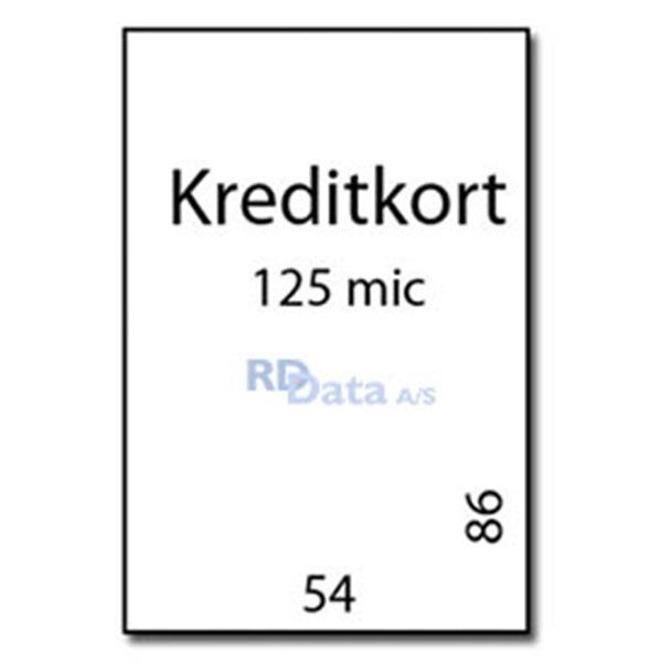 Kreditkort lamineringslommer, 125 mic./my. 100 stk. pr. pakke Mål: 54 x 86 mm. Vægt: 0,16 kg pr. pakke. Alt i plastkort, kortprintere og tilbehør hos RD Data