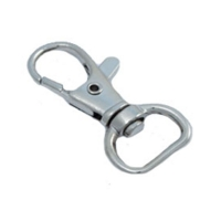Karabinhage med ring, kan bl.a. bruges til halssnor/lanyard. Mål: 39 x 19 mm. 100 stk. pr pose. Fra RD Data