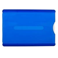 Kortholder blå, blåt transparent etui i hård plast med skyder for nem udtagning af plastkortet. Altid billige kortholdere, nøglesnore mm. hos RD Data