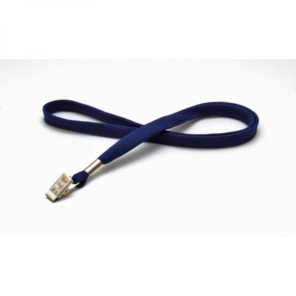 Blød blå lanyard, tubular rundvævet med kraftig bulldog clip, krokodillenæb, 12 mm. billig nøglesnor, halssnor hos RD Data