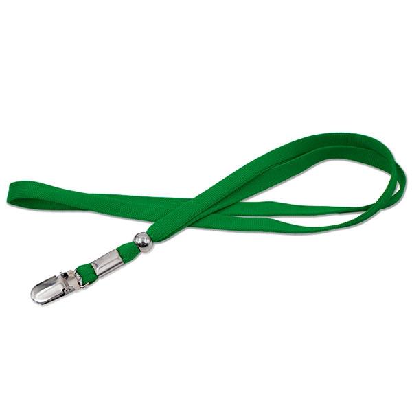 Grøn lanyard med metalclip, 8 mm. En praktisk lanyard med metalclip, der kan fastholde et plastkort, uden at det er nødvendigt med etui. Se mange flere halssnore, nøglesnore, keyhangers hos RD Data
