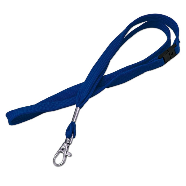 Blød blå lanyard med metalkarabinhage og break-away lås, 12 mm. bred, fra RD Data