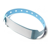 Vinyl armbånd blå med etiket Længde: 250 mm