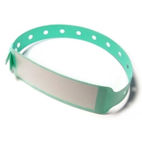 Vinyl armbånd grønne med etiket Længde: 250 mm