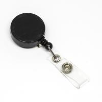 Lille praktisk 32 mm yoyo med nylonsnor, bælteclip på bagsiden og metaltryklås på båndet. Sort yoyo fra RD Data