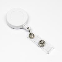 Lille praktisk 32 mm yoyo med nylonsnor, bælteclip på bagsiden og metaltryklås på båndet. Hvid yoyo fra RD Data