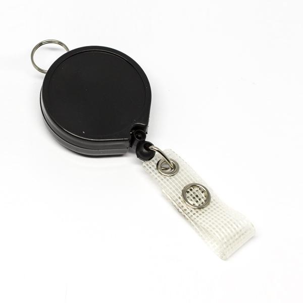 Sort, praktisk 35 mm yoyo med nylonsnor, bælteclip på bagsiden, metaltryklås på båndet og ring til f.eks. en lanyard.
