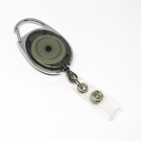 Transparent sort, røgfarvet,  praktisk og kraftig yoyo med nylonsnor, stærk fjederbelastet metalkrog og metaltryklås på båndet, fra RD Data