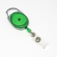 Grøn transparent, praktisk og kraftig yoyo med nylonsnor, stærk fjederbelastet metalkrog og metaltryklås på båndet, fra RD Data