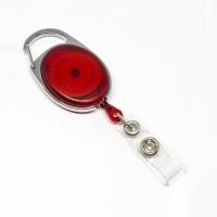 Rød transparent, praktisk og kraftig yoyo med nylonsnor, stærk fjederbelastet metalkrog og metaltryklås på båndet, fra RD Data
