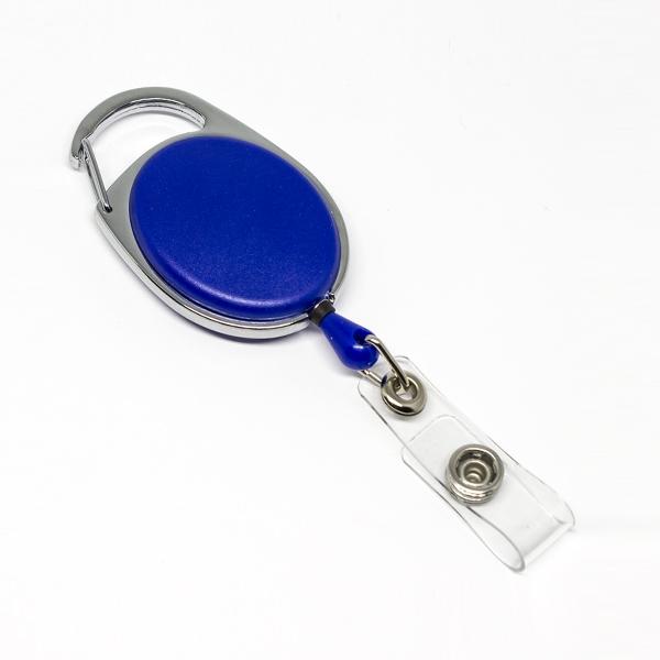 Blå, praktisk og kraftig yoyo med nylonsnor, stærk fjederbelastet metalkrog og metaltryklås på båndet, fra RD Data