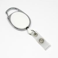 Hvid, praktisk og kraftig yoyo med nylonsnor, stærk fjederbelastet metalkrog og metaltryklås på båndet, fra RD Data