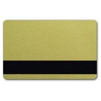 Guld plastkort med blank overflade og HiCo magnetstribe.