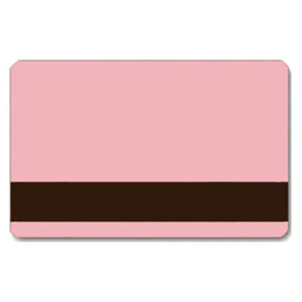 lyserødt plastikkort, Pink plastkort med blank overflade og LoCo magnetstribe