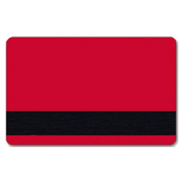 Rødt plastkort med blank overflade og LoCo magnetstribe.