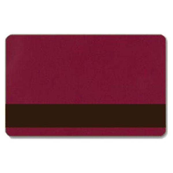 Bordeaux plastkort med blank overflade og LoCo magnetstribe, billige plastkort fra RD Data