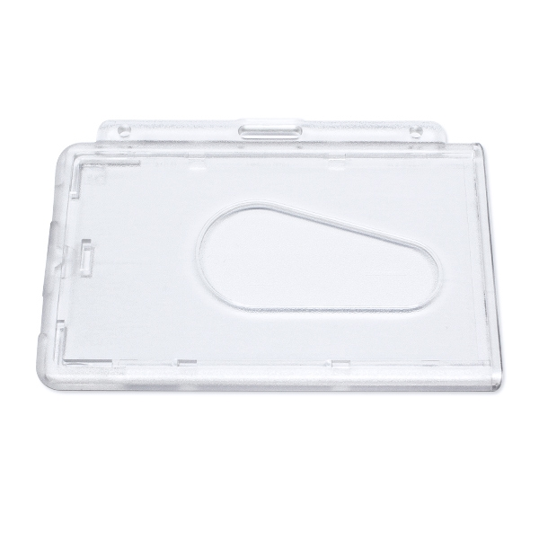 Transparent frosted kortholder i hård plast til 1 kort, horisontal.  Kortholderen kan forsynes med halssnor, seleclips, yoyo m.m.