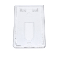 Transparent frosted kortholder i hård plast, vertikal. Kortholderen kan forsynes med halssnor, seleclips, yoyo m.m.
