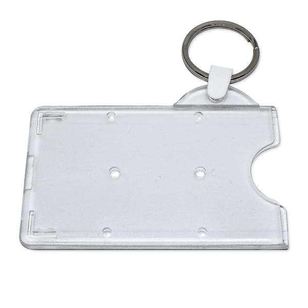 Transparent frosted kortholder i hård plast til 1 kort, horisontal.  Kortholderen kan forsynes med nøglering m.m.