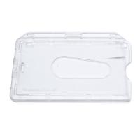 Transparent frosted kortholder med lås i hård plast til 1 kort, horisontal. Kortholderen kan forsynes med halssnor, seleclips, yoyo m.m. Velegnet til berøringsfri kort, Mifare kort m.m., hvor kortet sjældent skal ud af etuiet.