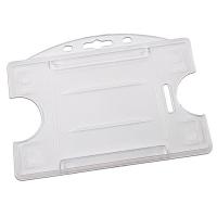 Transparent frosted åben kortholder i hård plast til 1 kort, horisontal eller vertikal.  Kortholderen kan forsynes med halssnor, seleclips, yoyo m.m.