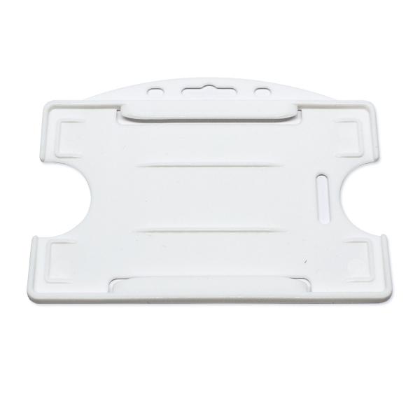 Hvid åben kortholder i hård plast til 1 kort, horisontal eller vertikal.  Kortholderen kan forsynes med halssnor, seleclips, yoyo m.m.