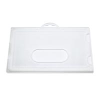 Mat kortholder i halvhård plast til 1 kort, horisontal.  Kortholderen kan forsynes med halssnor, seleclips, yoyo m.m.