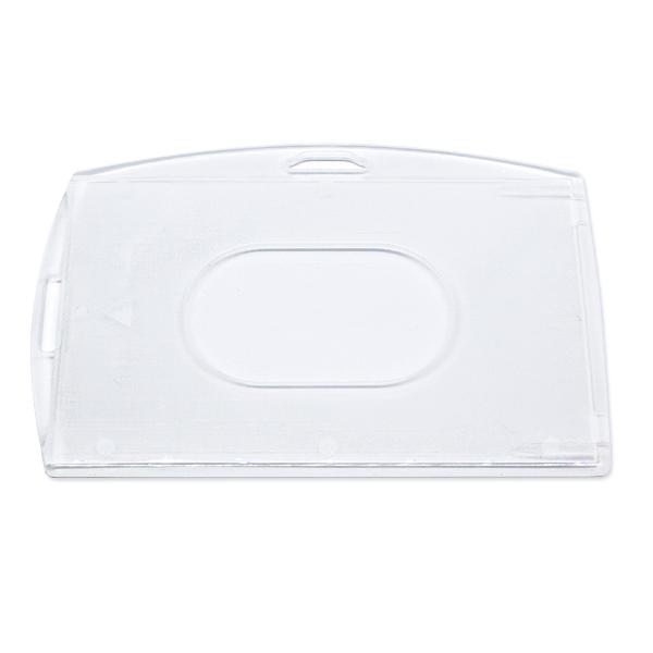 Mat kortholder i hård plast til 1 kort, horisontal eller vertikal.  Kortholderen kan forsynes med halssnor, seleclips, yoyo m.m.