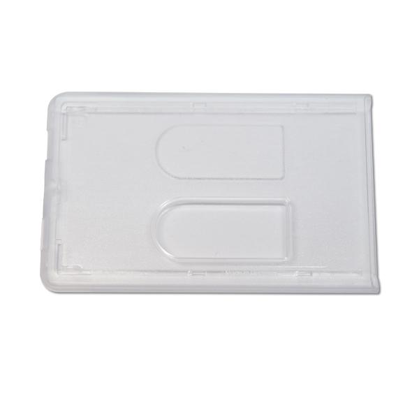 Etui i hård plast til 2 kort, transparent, frosted, altid de bedste tilbud på kortholdere hos RD Data