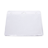 Kortholder i PVC plast, 25 mikron, horisontal, passer til kort i størrelse 105 x 70, kan forsynes med halssnor, seleclips, yoyo m.m.