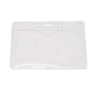 Kortholder i PVC plast, 14 mikron, horisontal til kort i størrelse 86 x 54, standard kort, kan forsynes med halssnor, seleclips, yoyo m.m., fra RD Data