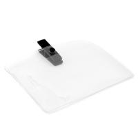 Horisontal kortholder i blød, blank, transparent plast med sort mini plastclip. Passer til standard kort str. 86 x 54 mm. Stort udvalg i plastkort og kortholdere hos RD Data
