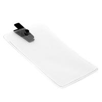 Vertikal kortholder i blød, blank, transparent plast med sort mini plastclip. Passer til standard kort str. 86 x 54 mm. Stort udvalg i plastkort og kortholdere hos RD Data