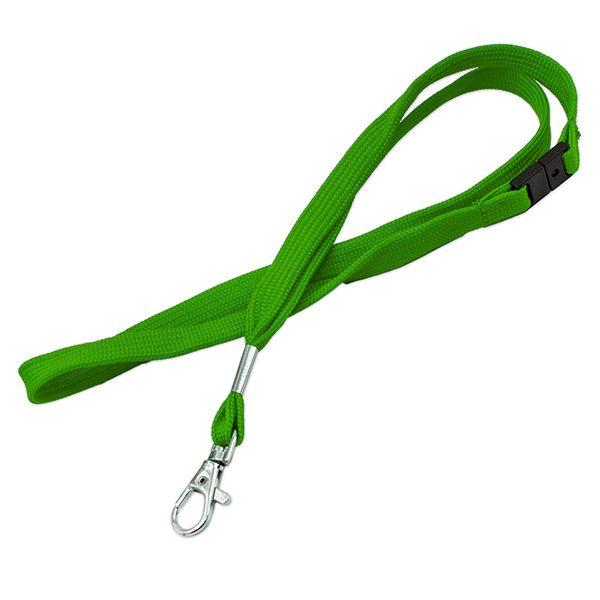 Lanyard grøn m. karabinhage, 12 mm
