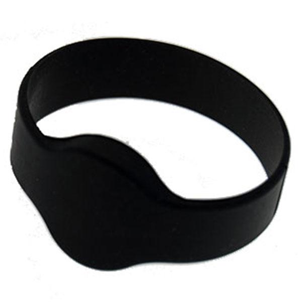 Silikone armbånd sort/ Mifare S50 1Kb. chip Ø65mm